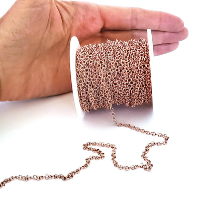 Rose Gold Stainless Chain, Round 3.5x0.6mm Open Links, 20 Meters on a Spool, #1910 RG
