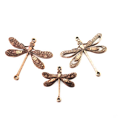 Rose Gold Filigree Dragonfly Connector Charm, 2 Loop, 24 Kt Rose Gold Plated Brass, Lot Size 20, #09 RG