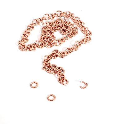 100 Stainless 24kt Rose Gold Plated Jump Rings, 3.5x0.6mm, Closed but not Soldered, Non-Tarnish