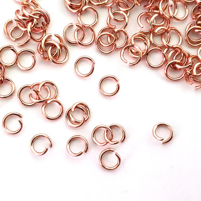 Brass Jump Rings, Rose Gold Plated Stainless, 5x0.8mm, Open, NOT Non-Tarnish, Lot Size 100