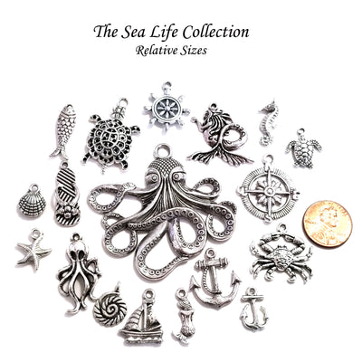 Octopus Charm, Steampunk Pendant, Antique Silver, Nickel Free, Lead Free, Cadmium Free, 32x18mm, Lot Size 20, #2058 S