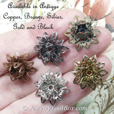 Filigree Flower Bead Caps, Antique Bronze Multiple Layer Flower, Bendable, Moldable, 2mm Hole, Lot Size 100, #2054
