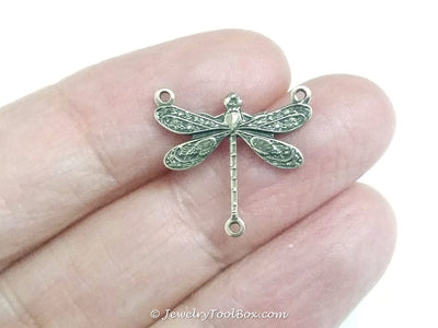 Small Antique Brass Dragonfly Pendant Connector Charm, 3 Loop, Lot Size 6, #03B