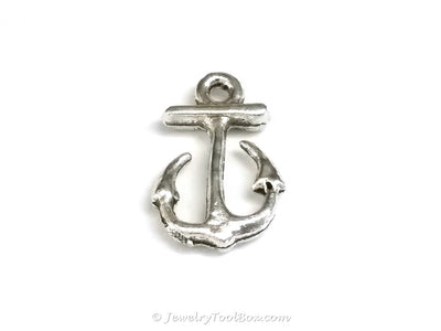 Small Anchor Charms, Antique Silver, Double Sided, Lead Free, Nickel Free, 16x11mm, Lot Size 30, #2151