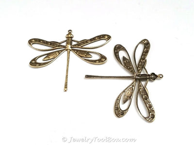 Extra Large Filigree Antique Brass Dragonfly Charm, 1 Loop, Lot Size 2, #11B