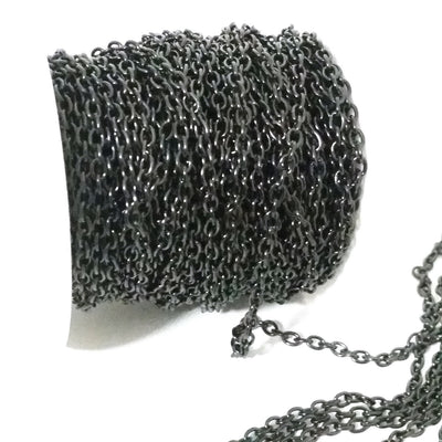 Black Stainless Steel Chain, 3x4mm Oval Open Links, 20 Meters on a Spool, #1906 BL