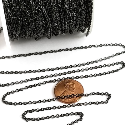 Fine Black Stainless Chain, 2mm Soldered Closed Links, Lot Size 50 Meters on a Spool, #1913 BL