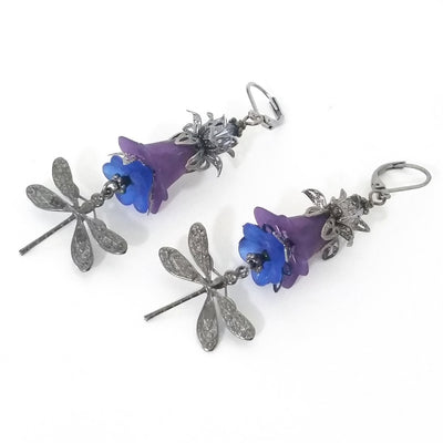 Purple Flower Filigree Dragonfly Earring Kit