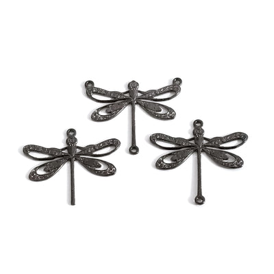 Large Black Filigree Dragonfly Pendant Connector Charm, 3 Loops, Lot Size 6, #10BL