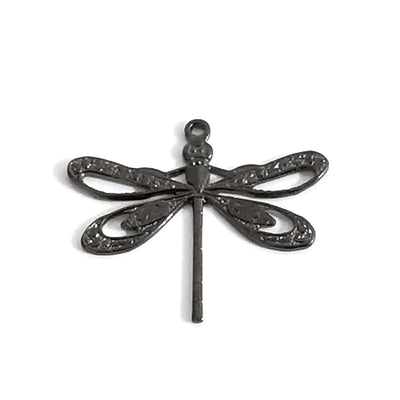 Large Black Filigree Dragonfly Charm, 1 Loop, Lot Size 6, #08BL