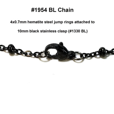 Black Station Chain, Stainless Steel, Medium Weight Soldered Closed 2mm links with 2x3mm Rondelle Stations, Lot Size 25 meters spooled, #1954