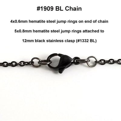 Fine Black Stainless Chain, 3x2mm Flattened Oval Links, Bulk 50 Meters on a Spool, #1909 BL