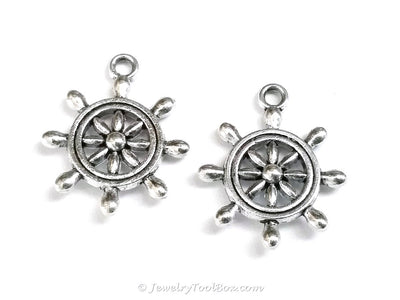 Boat Wheel Charms, Nautical Pendants, Antique Silver, 3 Dimensional, Lead Free, Nickel Free, 23x19mm, Lot Size 20, #2152