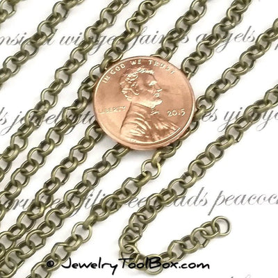 Bronze Rolo Chain, 4mm Round Open Links, Lead Free, Nickel Free, Iron, Lot Size 50 meters (~160 feet), #2901 AB