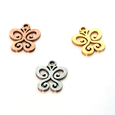 Butterfly Charms, Stainless Steel, 14x12x1mm,1.5mm Hole, Lot Size 5 Charms, #1666