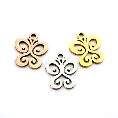 Butterfly Charms, 24kt Rose Gold Plated Stainless Steel, 14x12x1mm,1.5mm Hole, Lot Size 5 Charms, #1666 RG