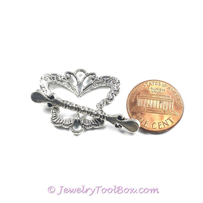 Butterfly Toggle Clasp, Antique Silver Butterfly Charms, 24x28mm, Lot Size 10 Clasp Sets, #1217