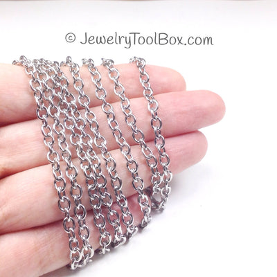 Stainless Steel Jewelry Chain, Hypoallergenic, 304 Stainless, 4x5mm Oval Open Links, Lot Size 50 Meters #1907