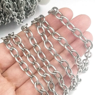 Thick Stainless Steel Jewelry Chain, 20 Meter Spool, Open Links, 9x6x1.5mm, #1932