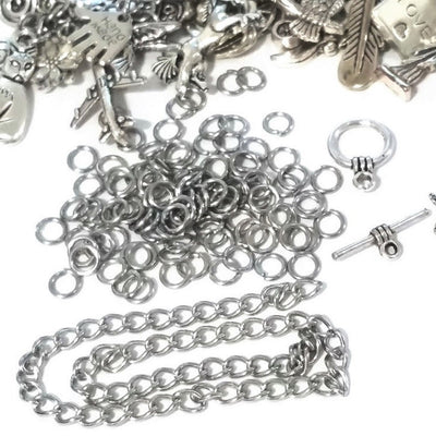 Charm Bracelet Kit, Do It Yourself Jewelry Making Kit, Over 50 Charms, Findings, Digital Instructions, Choose Full Kit or Charms Only, #100
