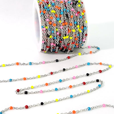 Colorful Enamel Stainless Station Chain, Bulk 30 Feet, #1000 CLR
