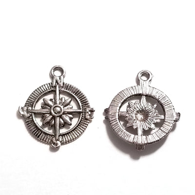 Compass Charm, Antique Silver, Lead Free, Nickel Free, 29x25x3mm, Lot Size 20 Pendants, #2029