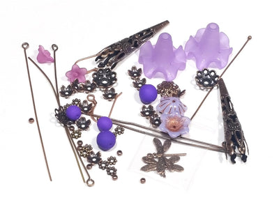 Orchid Ruffle Flower Dragonfly Earring Kit, Make Your Own Earrings