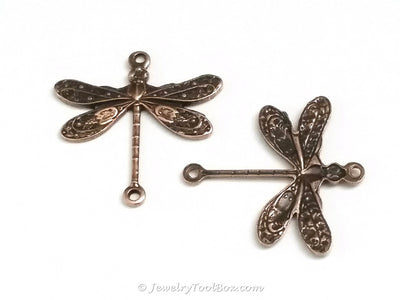 Small Antique Copper Dragonfly Connector Charm, 2 Loop, Lot Size 6, #02C