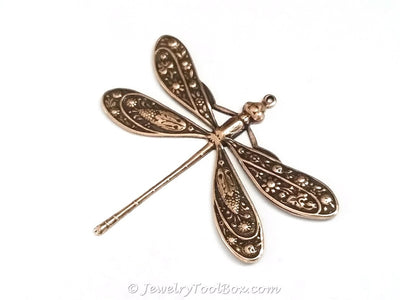 Extra Large Antique Copper Dragonfly Charm, 1 Loop, Lot Size 2, #07C