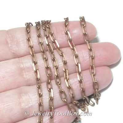 Copper Rolo Chain, Antique Copper Chain, Brass, Soldered, 6x3mm, 1mm thick, 18 gauge, Lead Nickel Free, Lot Sizes 50 meters, #2906 R