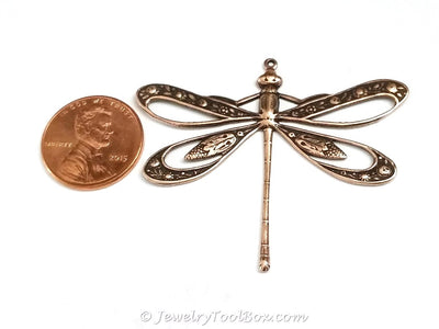Extra Large Filigree Antique Copper Dragonfly Charm, 1 Loop, Lot Size 2, #11C