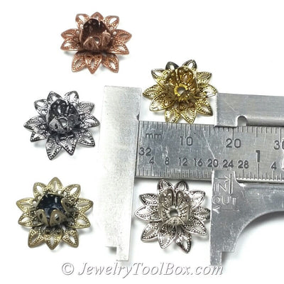 Antique Silver Filigree Flower Bead Caps, Multiple Layer Bendable, Moldable, 2mm Hole, Lot Size 100, #2054 AS