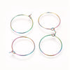 Titanum Stainless Wine Glass Charm Rings, 25mm Earring Hoops, 0.7mm Thick Wire, Lot Size 50, #1315 MC