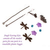 Jewelry Making Kit, Brass Dragonfly Earrings with Lucite Bell Flowers and Crystal Beads, Choose 5 Pairs, #394