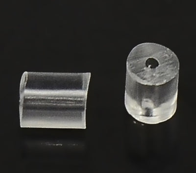 Plastic Ear Wire Stoppers, Clear, 4x4mm, Hole: 1mm Lot Size 5000 Pieces, #1317