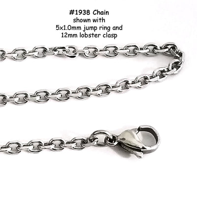 Faceted Stainless Chain, 3.5x2.7x0.8mm Faceted Oval Links, Bulk 10 Meters (approx), #1938