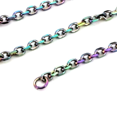 Titanium Stainless Steel Chain, Oval Links, 2.5x2mm, Lot Size 30 Feet, #1911 MC