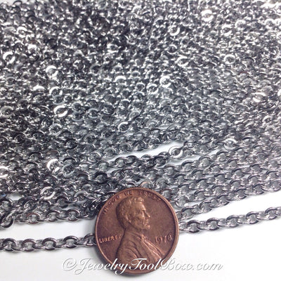 Stainless Steel Chain, 4x5mm Flattened, Open Links, 30 Feet, #1915