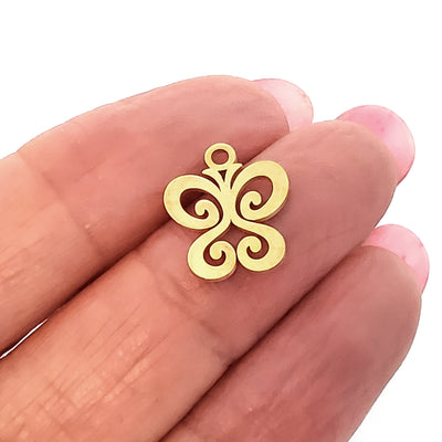 Butterfly Charms, 24kt Gold Plated Stainless Steel, 14x12x1mm,1.5mm Hole, Lot Size 5 Charms, #1666 G
