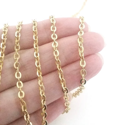 Gold Flattened Link Chain, 3x4mm Oval Open Links, 20 Meters to 100 Meters on a Spool, #1906 G
