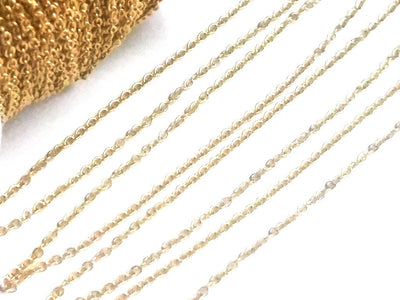 Gold Stainless Steel Fine Chain, 2x1.5mm Links, Soldered Closed, Bulk 20 Feet to 50 Meters on a Spool, #1902 G
