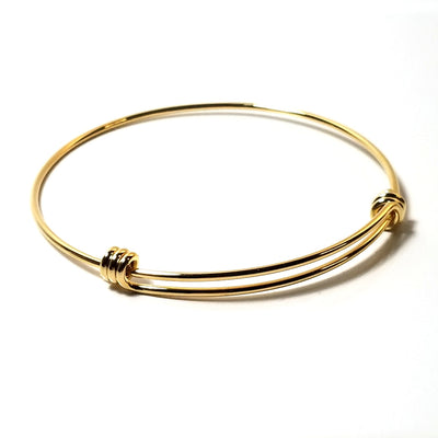 Gold Expandable Bangle Bracelet, 60mm Adjustable Bulk Stainless Steel Jewelry Findings, Lot Size 15 Bracelets