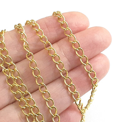 Gold Stainless Twist Chain, Open Link, 3.5x5.5x0.75mm,  50 Meters (160+ Feet), #1950 G