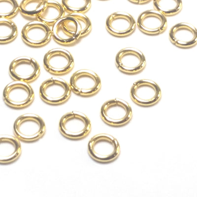 Gold Stainless Jump Rings, 5x1mm, 3.0mm Inside Diameter, 18 gauge, Closed Unsoldered, Lot Size 100