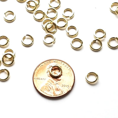 Gold Stainless Jump Rings, 6x1.2mm, 3.6mm Inside Diameter, 16 gauge, Closed Unsoldered, Lot Size 100