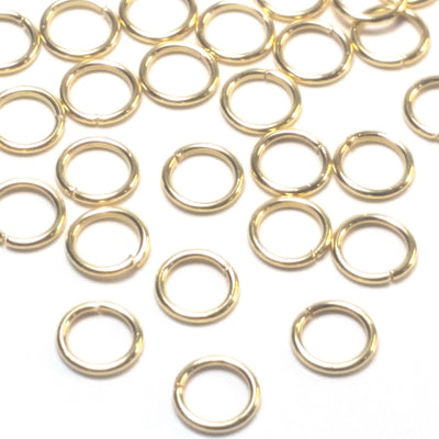 Gold Stainless Jump Rings, 6x0.8mm, 4.4mm Inside Diameter, 20 gauge, Closed Unsoldered, Lot Size 100