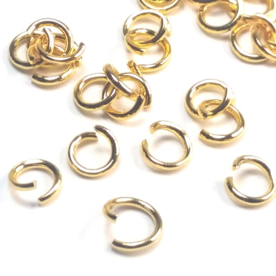 Gold Stainless Jump Rings, Open, 6x1.0mm, 4mm Inside Diameter, 18 gauge, Lot Size 100