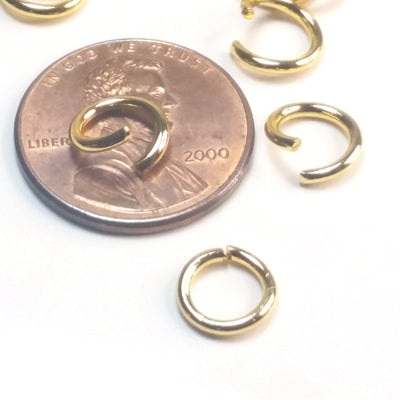 Gold Stainless Jump Rings, Open, 8x1.2mm, 5.6mm Inside Diameter, 16 gauge, Lot Size 100