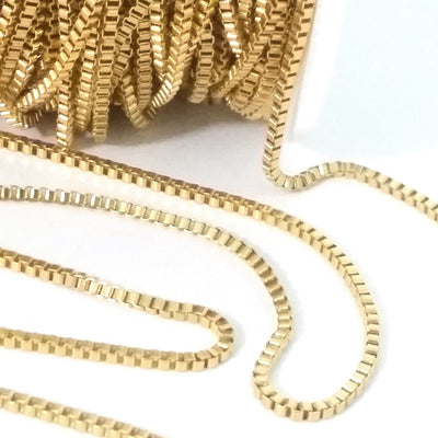 Gold Stainless Box Chain, 2mm Closed Links, 20 Meter Roll, #1953 G