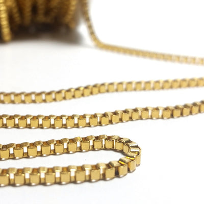 Gold Stainless Box Chain, 2mm Closed Links, 20 Feet or 20 Meter Roll, #1953 G
